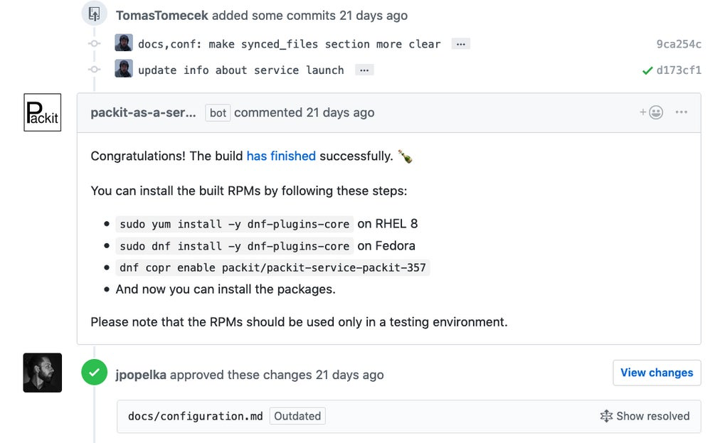 Packit service pull request